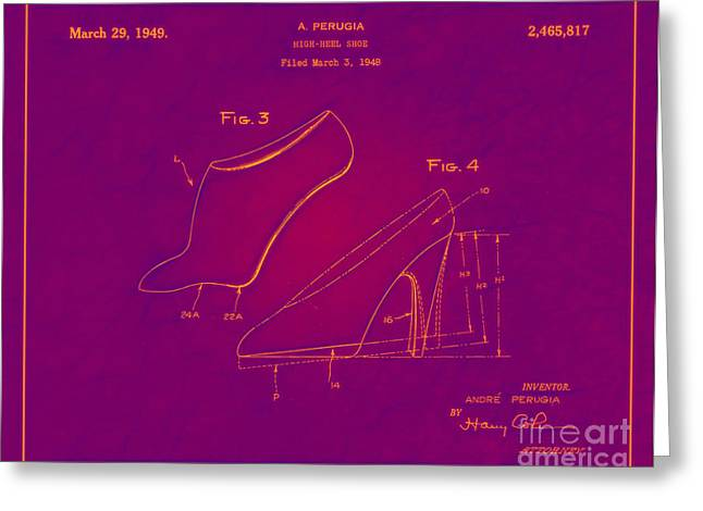 Boots Digital Greeting Cards - 1949 High Heel Shoes Patent Andre Perugia 12 Greeting Card by Nishanth Gopinathan