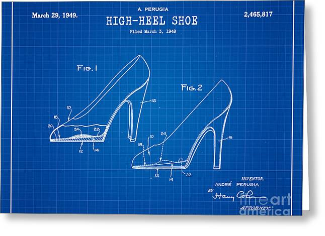 1949 High Heel Shoes Patent Andre Perugia 13 Greeting Card by Nishanth Gopinathan