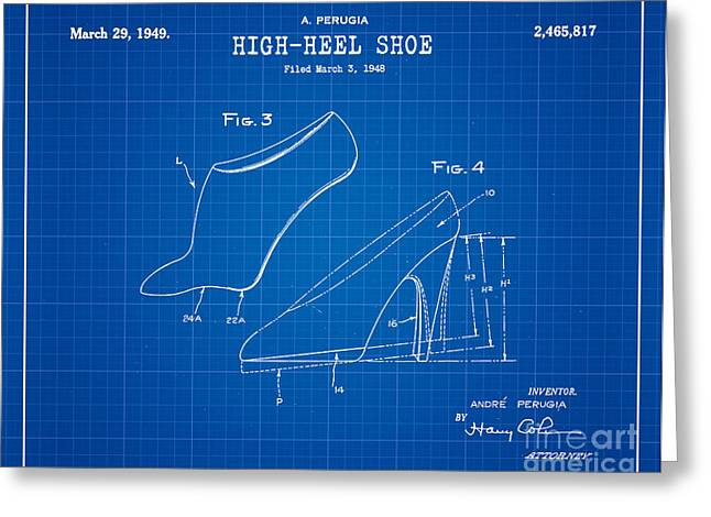 1949 High Heel Shoes Patent Andre Perugia 14 Greeting Card by Nishanth Gopinathan