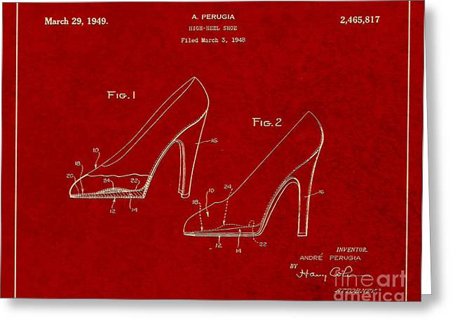 Boots Digital Greeting Cards - 1949 High Heel Shoes Patent Andre Perugia 2 Greeting Card by Nishanth Gopinathan