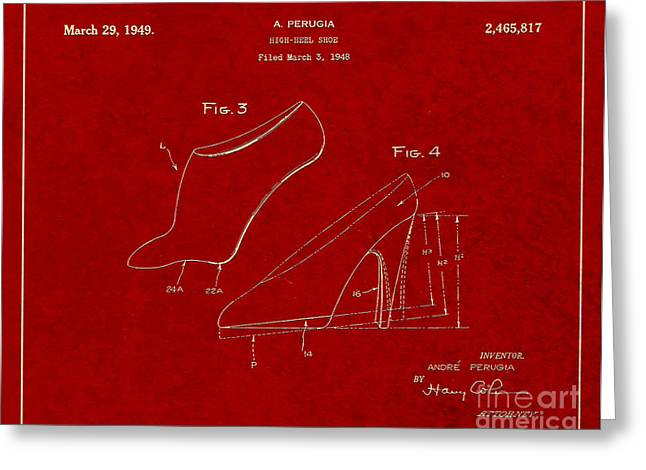 Boots Digital Greeting Cards - 1949 High Heel Shoes Patent Andre Perugia 3 Greeting Card by Nishanth Gopinathan