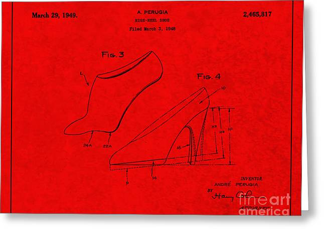 Boots Digital Greeting Cards - 1949 High Heel Shoes Patent Andre Perugia 5 Greeting Card by Nishanth Gopinathan