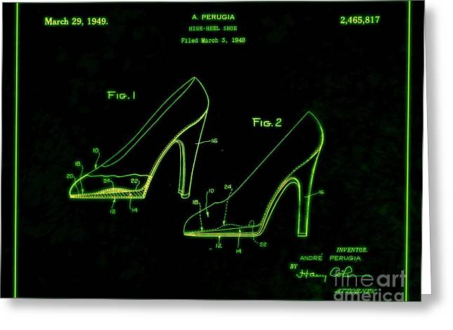 Boots Digital Greeting Cards - 1949 High Heel Shoes Patent Andre Perugia 6 Greeting Card by Nishanth Gopinathan