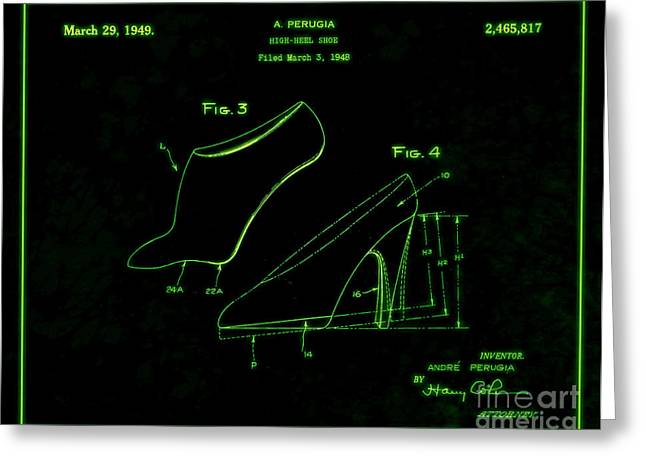 Boots Digital Greeting Cards - 1949 High Heel Shoes Patent Andre Perugia 7 Greeting Card by Nishanth Gopinathan