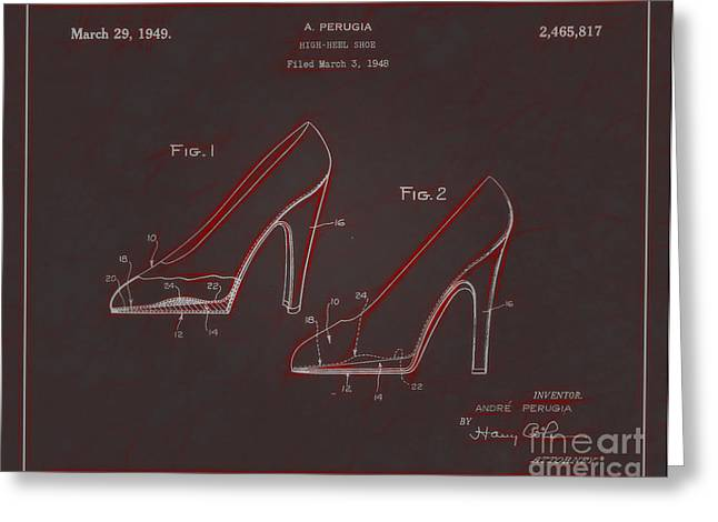 Boots Digital Greeting Cards - 1949 High Heel Shoes Patent Andre Perugia 8 Greeting Card by Nishanth Gopinathan