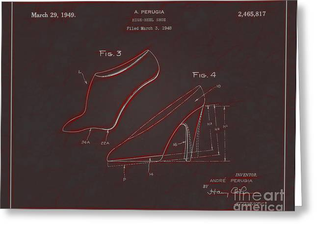 Boots Digital Greeting Cards - 1949 High Heel Shoes Patent Andre Perugia 9 Greeting Card by Nishanth Gopinathan