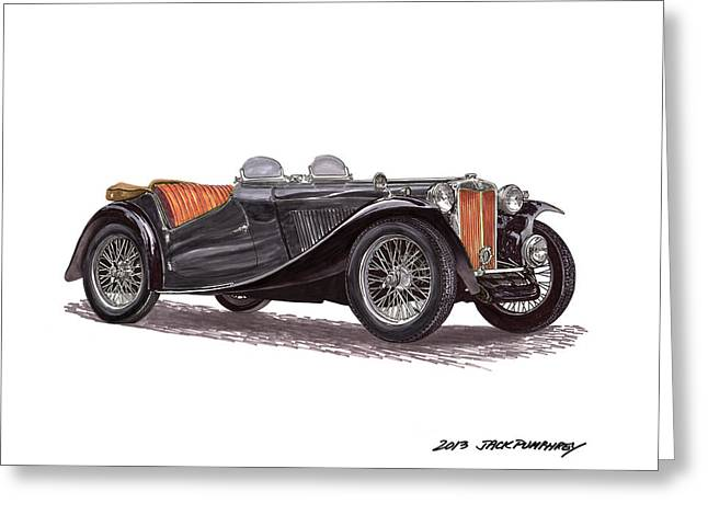 Steering Drawings Greeting Cards - 1949 M G T C Greeting Card by Jack Pumphrey