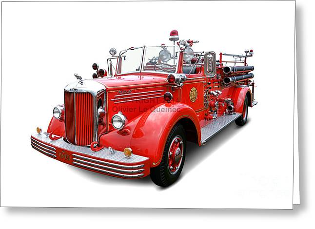 Fire Engine Greeting Cards - 1949 Mack Fire Truck Greeting Card by Olivier Le Queinec