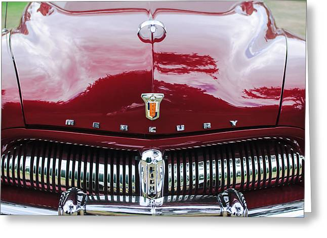 1949 Greeting Cards - 1949 Mercury Coupe Grille - Hood Ornament - Emblems Greeting Card by Jill Reger
