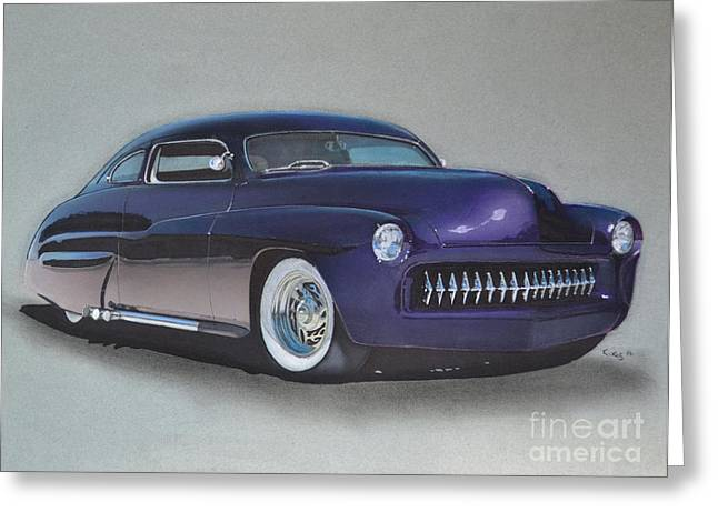Exhaust Drawings Greeting Cards - 1949 Mercury Greeting Card by Paul Kuras