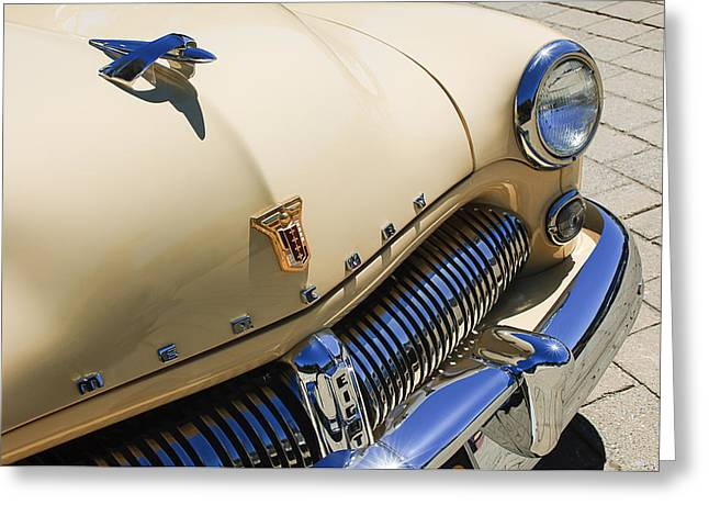 Wagon Greeting Cards - 1949 Mercury Station Woodie Wagon Grille Emblem - Hood Ornament Greeting Card by Jill Reger