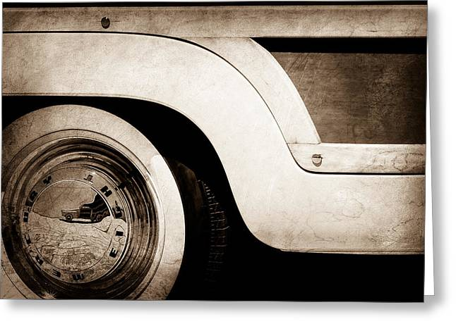 Wagon Wheels Photographs Greeting Cards - 1949 Mercury Station Woodie Wagon Wheel Emblem Greeting Card by Jill Reger