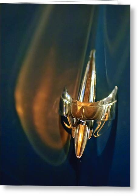 1949 Mercury Woody Wagon Hood Ornament Greeting Card by Jill Reger