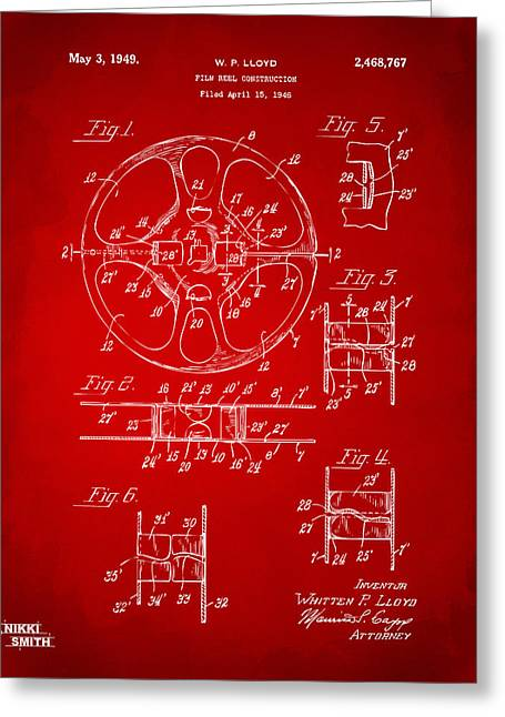 1949 Movie Film Reel Patent Artwork - Red Greeting Card by Nikki Marie Smith