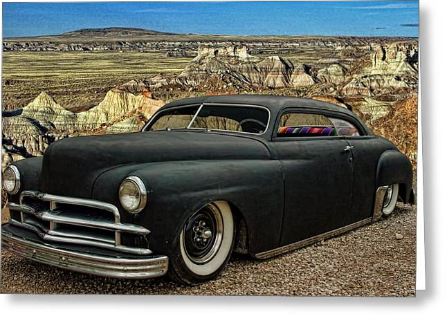 Greaserama Greeting Cards - 1949 Plymouth Low Rider Greeting Card by Tim McCullough