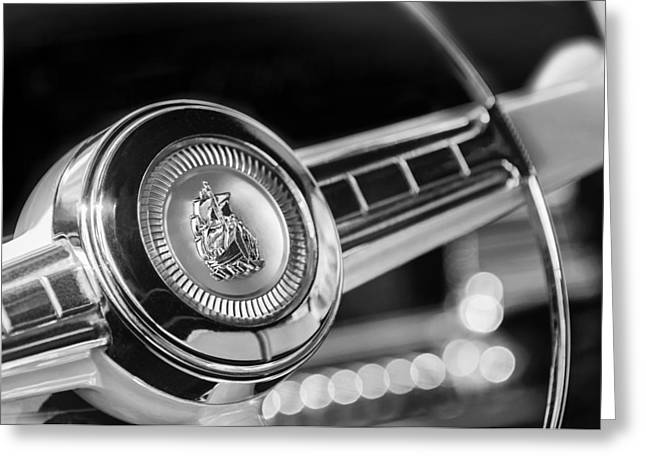 1949 Plymouth Photographs Greeting Cards - 1949 Plymouth P-18 Special Deluxe Convertible Steering Wheel Emblem Greeting Card by Jill Reger