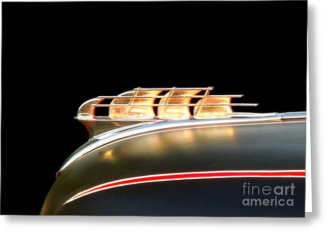 1949 Plymouth Greeting Cards - 1949 Plymouth Schooner Hood Ornament Greeting Card by Renee Trenholm