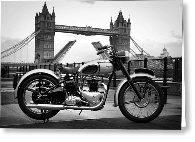 Motorcycle Poster Greeting Cards - 1949 Triumph T100 Greeting Card by Mark Rogan