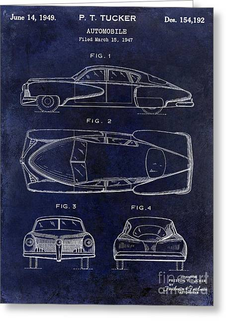 Ford Mustang Drawings Greeting Cards - 1949 Tucker Automobile Patent Drawing Blue Greeting Card by Jon Neidert