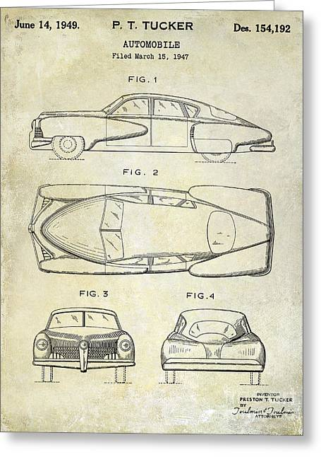 Ford Mustang Drawings Greeting Cards - 1949 Tucker Automobile Patent Drawing Greeting Card by Jon Neidert
