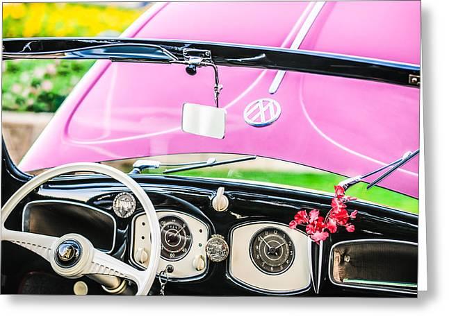 1949 Greeting Cards - 1949 Volkswagen VW Hebmuller Cabriolet Steering Wheel -1207p Greeting Card by Jill Reger