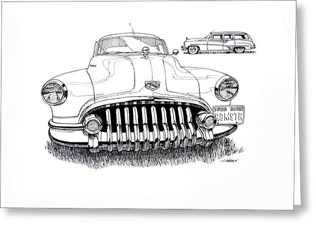 Station Wagon Drawings Greeting Cards - 1950 Buick Roadmaster Wagon Greeting Card by Dave Tobaben
