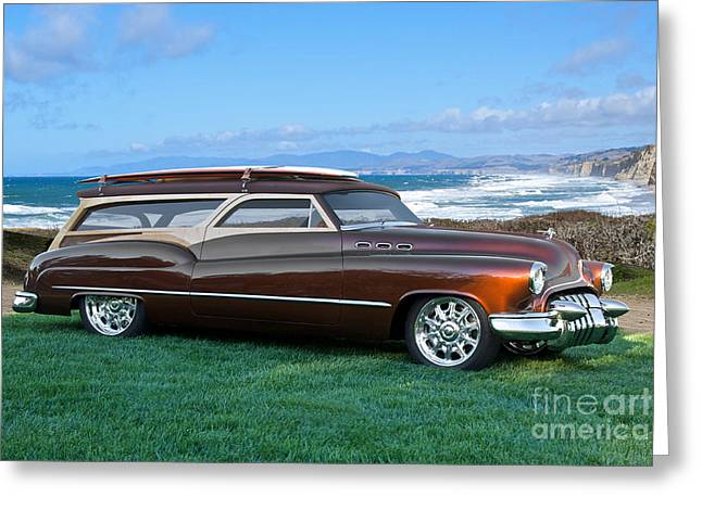 Slam Greeting Cards - 1950 Buick Woody Wagon 8 Greeting Card by Dave Koontz
