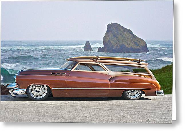 Custom Grill Greeting Cards - 1950 Buick Woody Wagon V Greeting Card by Dave Koontz