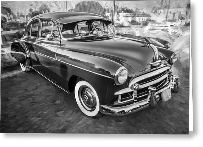1950 Chevrolet Sedan Deluxe Painted Bw   Greeting Card by Rich Franco