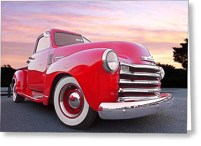 Chevy 3100 Greeting Cards - 1950 Chevy Pick Up At Sunset Greeting Card by Gill Billington