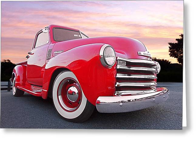 Chevy Pickup Greeting Cards - 1950 Chevy Pick Up At Sunset Greeting Card by Gill Billington