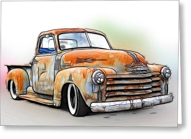 1950 Merc Greeting Cards - 1950 Chevy Truck Greeting Card by Steve McKinzie