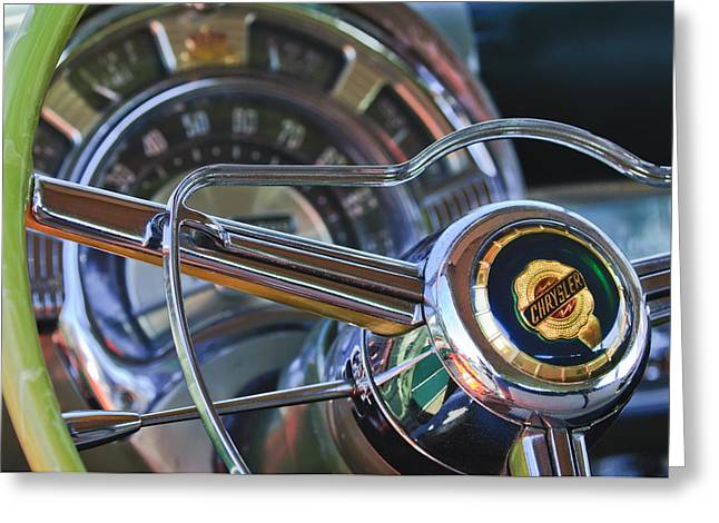 1950 Chrysler New Yorker Coupe Steering Wheel Emblem Greeting Card by Jill Reger