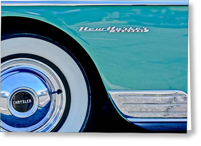 New Yorker Greeting Cards - 1950 Chrysler New Yorker Coupe Wheel Emblem Greeting Card by Jill Reger