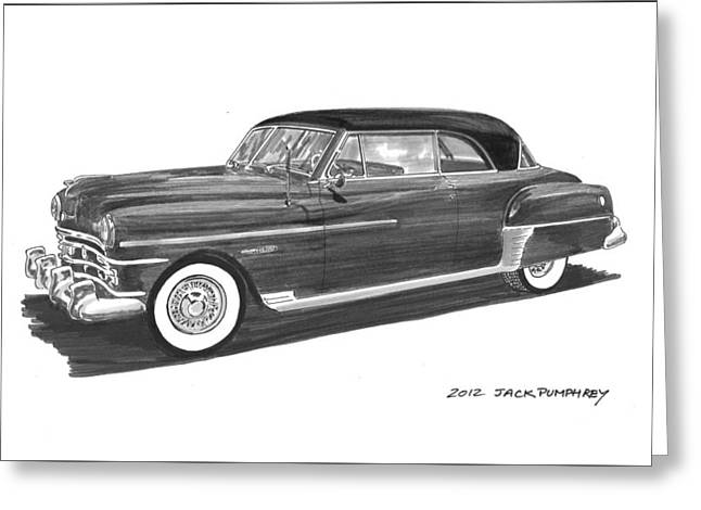 Pen And Ink Framed Prints Greeting Cards - 1950 Chrysler Newport Greeting Card by Jack Pumphrey
