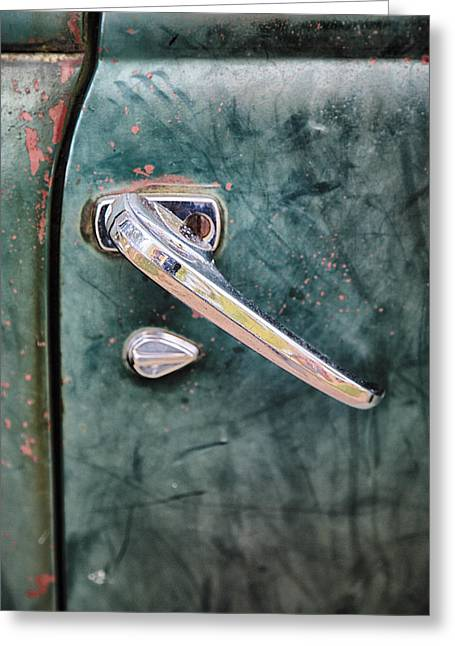 Old Pickup Greeting Cards - 1950 Classic Chevy Pickup Door Handle Greeting Card by Adam Romanowicz