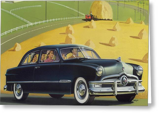 Historical Images Paintings Greeting Cards - 1950 Custom Ford - Square Format Image Picture Greeting Card by Walt Curlee