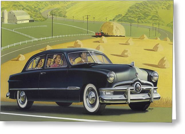 Blank Greeting Cards Greeting Cards - 1950 Custom Ford Blank Greeting Card Greeting Card by Walt Curlee