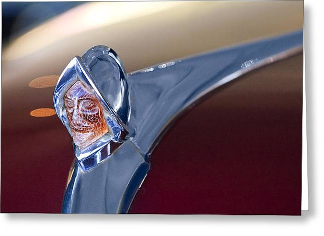 Vintage Hood Ornaments Greeting Cards - 1950 Desoto Custom Sedan Hood Ornament Greeting Card by Jill Reger