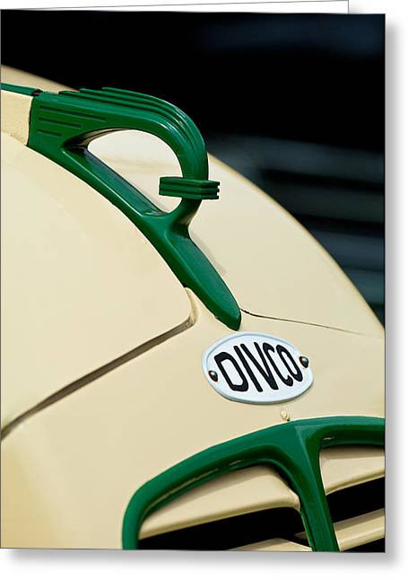 Vintage Hood Ornament Greeting Cards - 1950 Divco Milk Truck Hood Ornament Greeting Card by Jill Reger