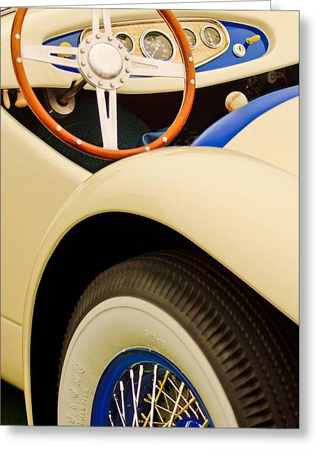 Rochester Greeting Cards - 1950 Eddie Rochester Anderson Emil Diedt Roadster Steering Wheel Greeting Card by Jill Reger