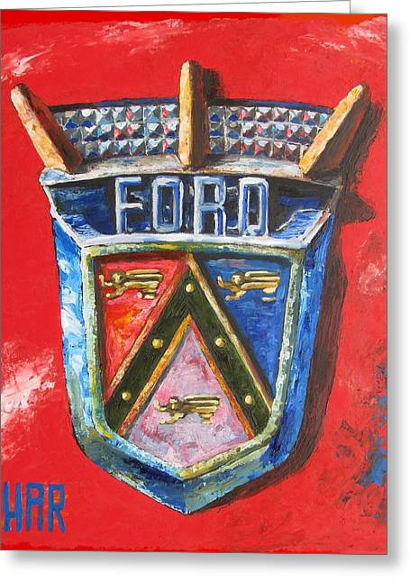 Quality Mixed Media Greeting Cards - 1950 FORD Club Coupe Badge - Oil Painting Greeting Card by Dan Haraga