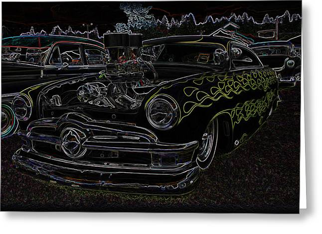 50 Merc Greeting Cards - 1950 Ford Coupe Neon Glow Greeting Card by Steve McKinzie