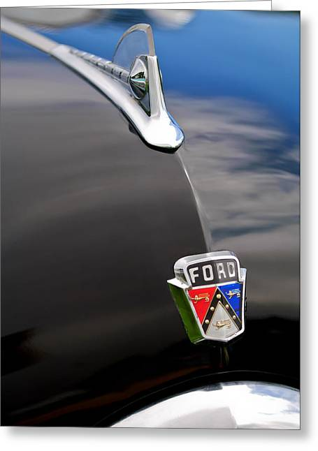 Recently Sold -  - Collector Hood Ornament Greeting Cards - 1950 Ford Crestliner 2-Door Hood Ornament Greeting Card by Jill Reger