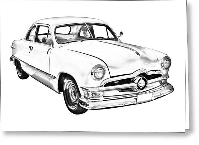 Line Drawings Greeting Cards - 1950  Ford Custom Antique Car Illustration Greeting Card by Keith Webber Jr