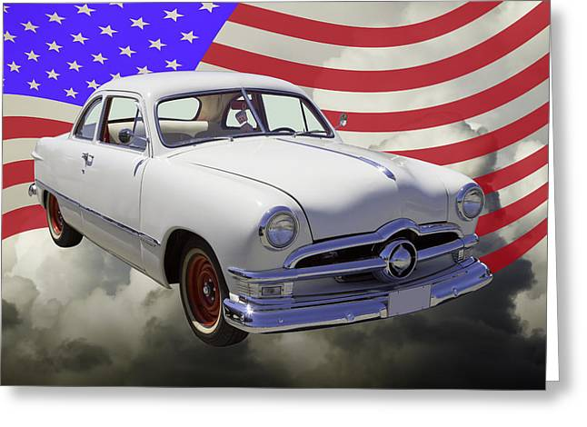 Blue Ford Greeting Cards - 1950 Ford Custom Car With American Flag Greeting Card by Keith Webber Jr