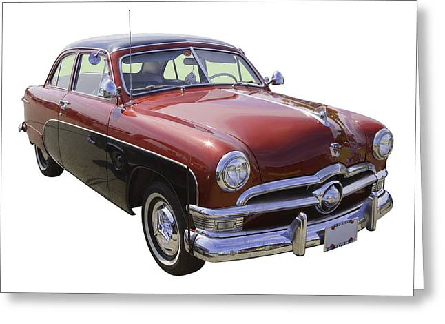 Custom Auto Greeting Cards - 1950 Ford Custom Deluxe Classsic Car Greeting Card by Keith Webber Jr