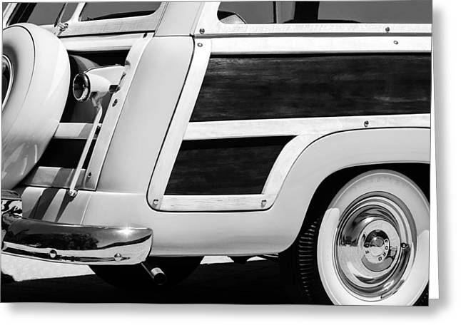 Ford Custom Greeting Cards - 1950 Ford Custom Deluxe Station Wagon Rear End - Woodie Greeting Card by Jill Reger