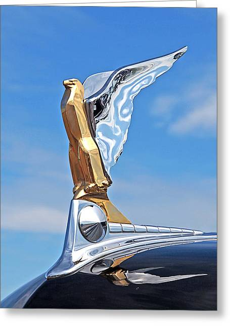 Vintage Hood Ornaments Greeting Cards - 1950 Ford Hood Ornament Greeting Card by Gill Billington
