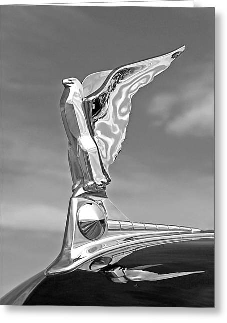 Eagle Images Greeting Cards - 1950 Ford Hood Ornament in Black and White Greeting Card by Gill Billington